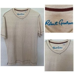 Robert Graham Men's Size Medium Beige V-Neck euc